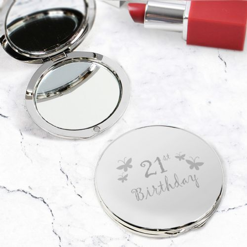 21st Birthday Gift - Silver  Butterfly Round Compact Mirror